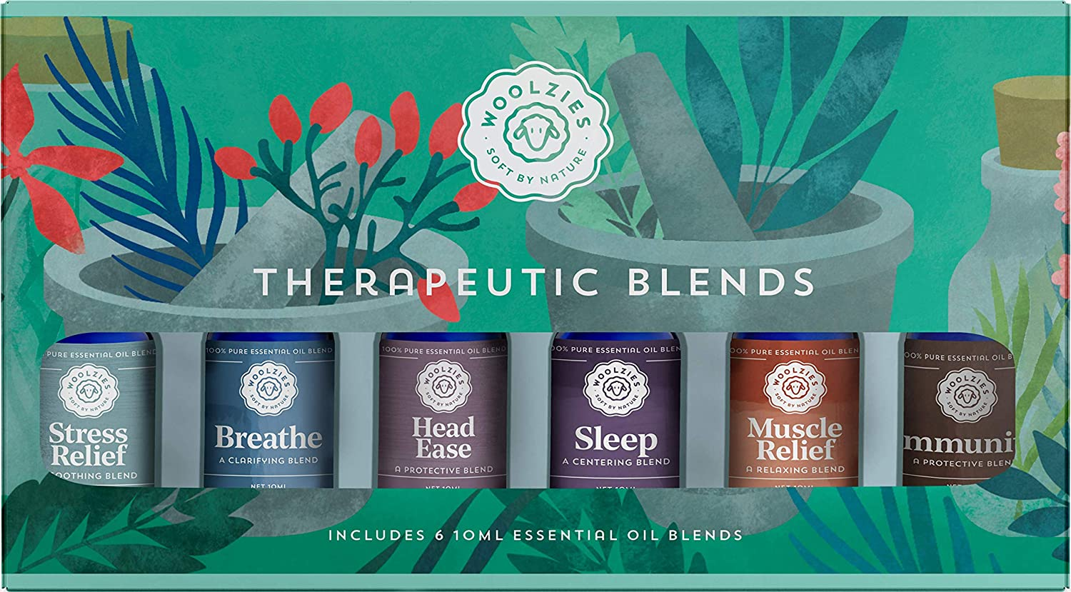 Woolzies Natural 100% Pure Therapeutic Essential oil Gift Set of 6   Good night, Breathe, Pain relief, Head Relief, Stress relief, Immunity Blend-Thieves Blend   For Diffusion/Internal/Topical Use