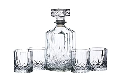 BarCraft Cut-Glass Whisky Decanter and Tumbler Set