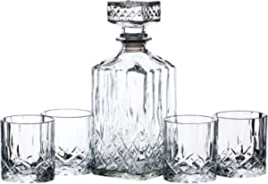 BarCraft Cut-Glass Whisky Decanter and Tumbler Set in Gift Box (5 Pieces)