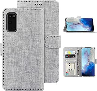 Feitenn Galaxy S20 Wallet Case, Samsung S20 Flip Case, Slim Folio Cover Stand Credit Card Slots Holder Magnetic Closure Bumper Shockproof PU Leather Soft TPU Shell for Samsung Galaxy S20 6.2'' - Gray