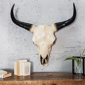 471c6154ad84de Grosse Wanddeko Replik IMMORTAL 62cm Kunststein Naturfarben - Schädel  Skulptur Figur Stier Statur - Designer Figur