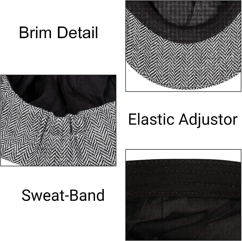Plano para Hombre Gris Grey Herringbone Gorra de Peaky Blinders Sombrero de Espiga para Hombre Tweed IBFUN Boina Gatsby