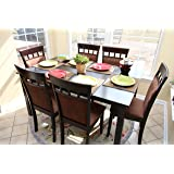 7 pc Espresso Brown 6 Person Table and Chairs Brown Dining Dinette - Espresso Brown and Beige Chair