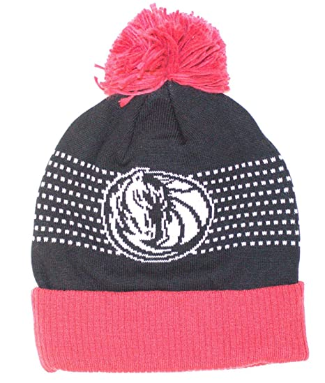 43b26a8819e Image Unavailable. Image not available for. Color  NBA Officially Licensed  Dallas Mavericks Black Logo Dot Stripes Cuffed Pom Beanie Hat Cap ...