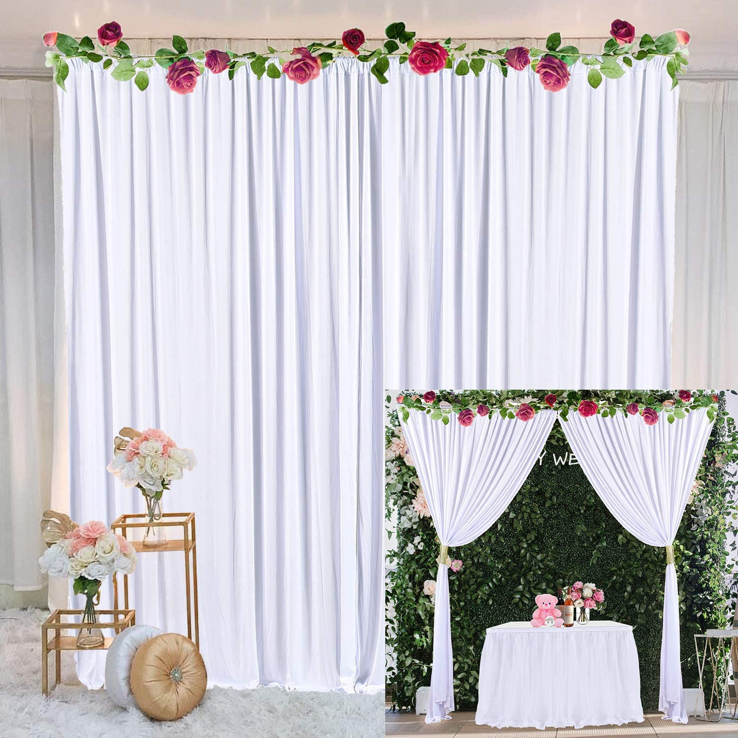 White Backdrop Curtain for Parties Weddings Baby Shower Birthday Photography Drape Backdrop with Golden Curtain Tiebacks 5ft x 7ft (Pack of Two)