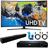 """Samsung UN65MU7500 Curved 65"""" 4K Ultra HD Smart LED TV (2017 Model) + HDMI 1080p High Definition DVD Player + Solo X3 Bluetooth Home Theater Sound Bar + 2x HDMI Cable + LED TV Screen Cleaner"""
