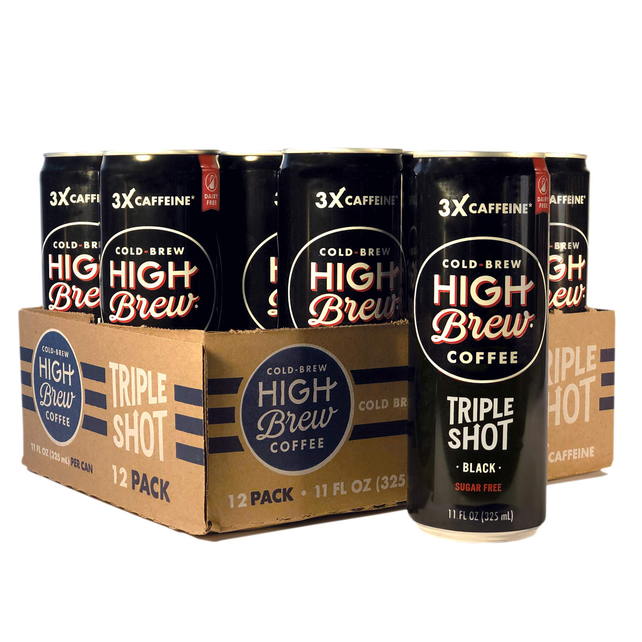 High Brew Cold Brew Coffee Black Triple Shot, 11 Ounce Can (12 Count) by High Brew Coffee