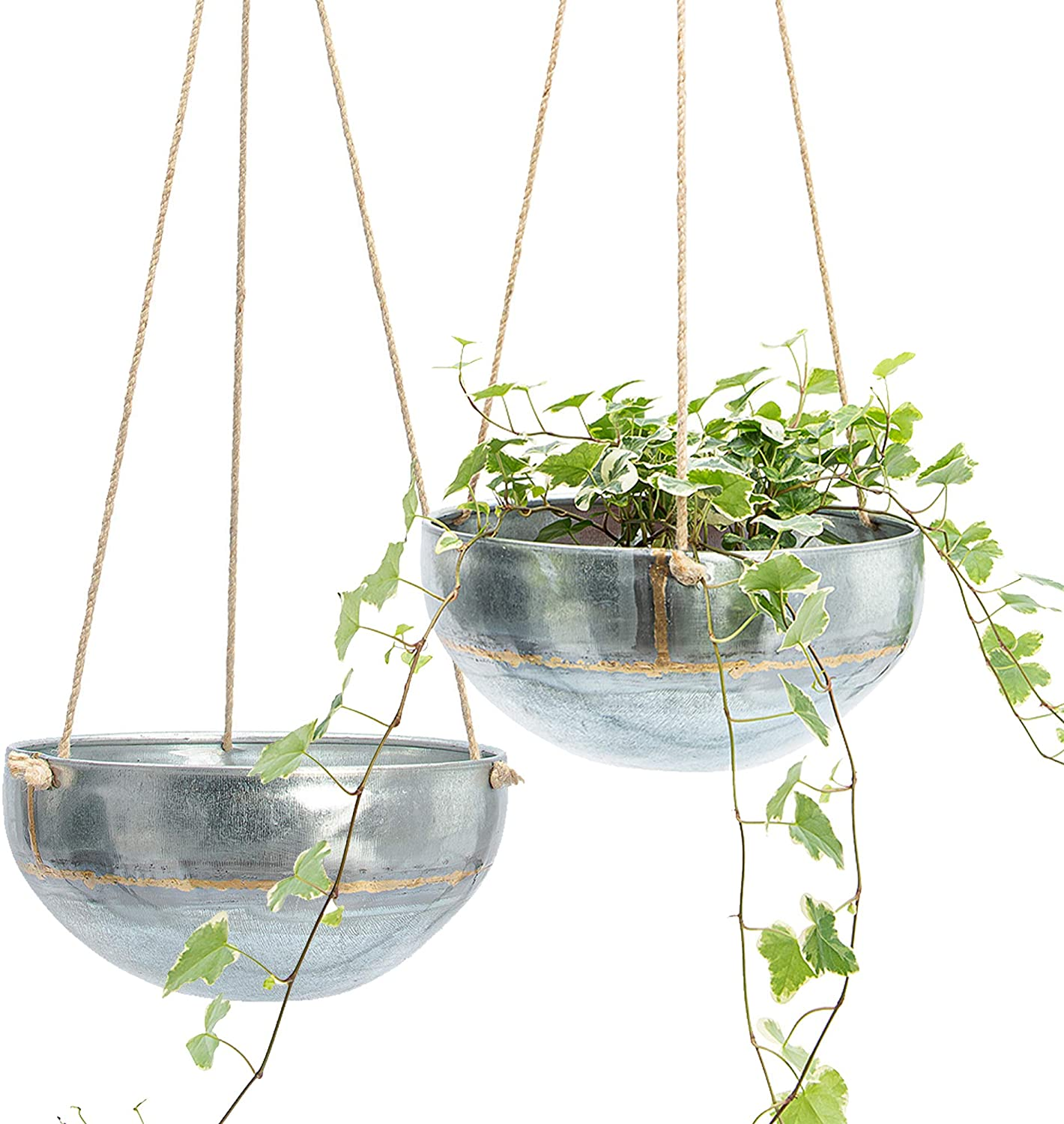 Set 2 Hanging Planter for Outdoor & Indoor Plants, Galvanized Iron Pot, Large Flower Hanger for Patio, Window, Garden, Balcony and Terrace, Modern Hang Basket with Rope, Boho Chic Metal Holder