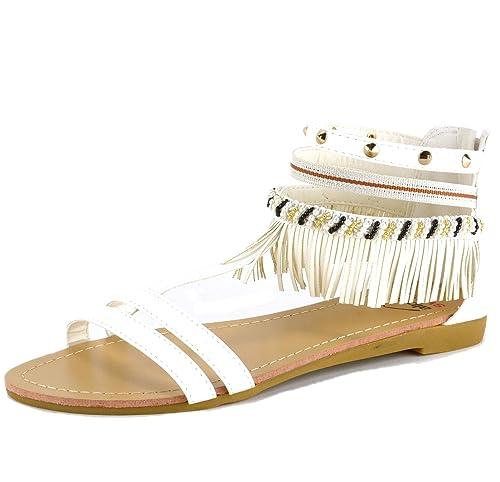 a82f0f0b517f alpine swiss Womens Beaded   Studded Fringe Flat Gladiator Sandals White 5  ...