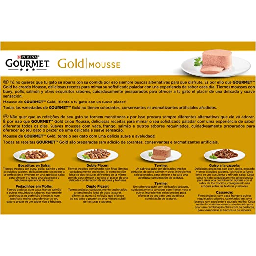 Purina Gourmet Gold Mousse comida para gato Surtido Carne y Pescado 12 x 85 g: Amazon.es: Amazon Pantry