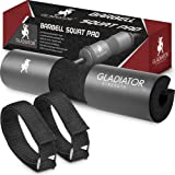 Gladiator Strength Barbell Pad– 17.5'' Extra Thick Hip Thruster Pad/Squat Bar Neck Pad for Lunges, Squats & More for 2'' Olympic & Smith Machine Bars-Bonus Straps Included (Color: Black, Tamaño: standard)
