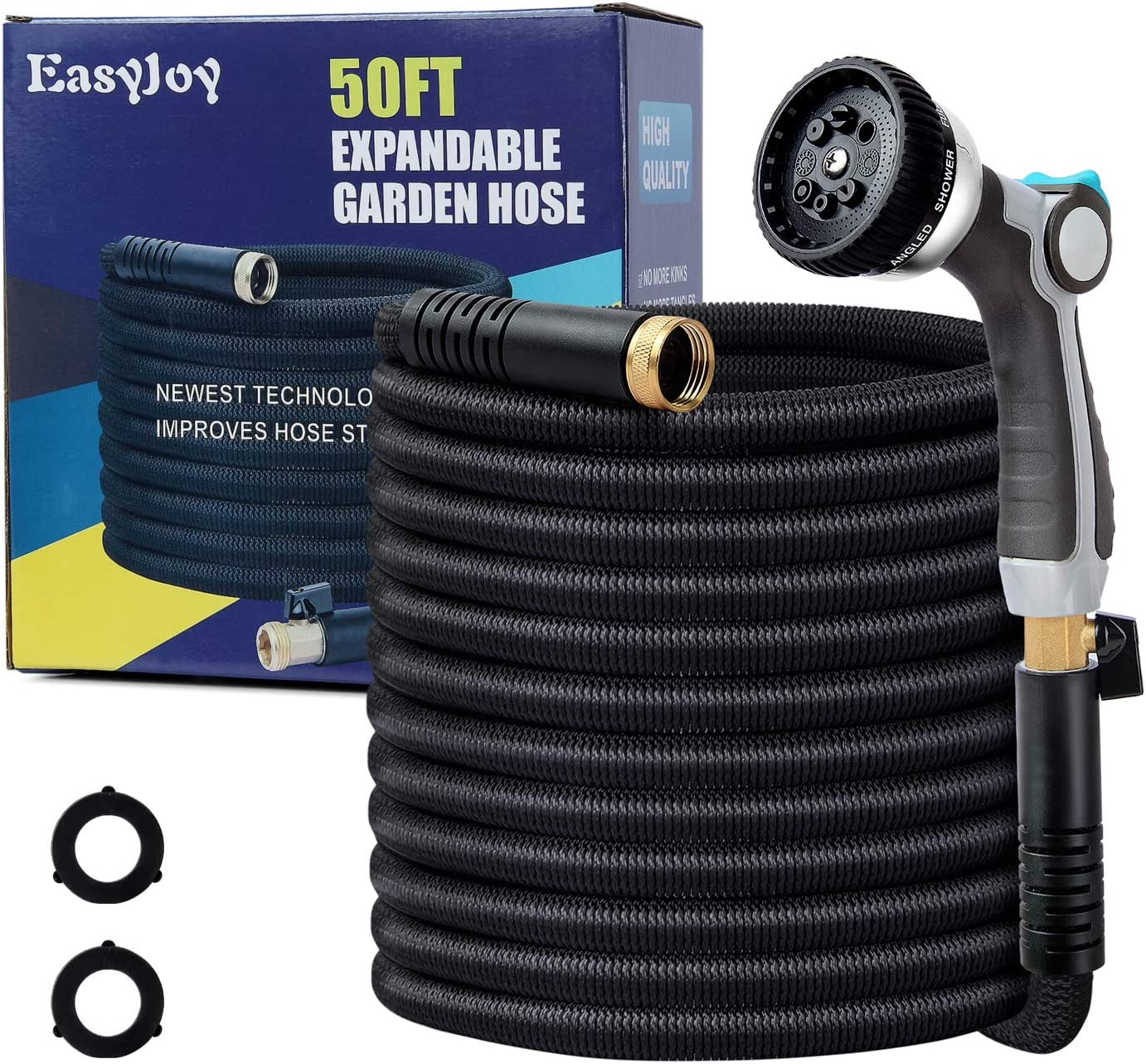 EasyJoy 50FT Expandable Garden Hose - Super Strong 3750D Fabric - 4-Layers Flex Strong Latex – Your Best Choice for Watering and Washing (with Metal 8 Function Sprayer)
