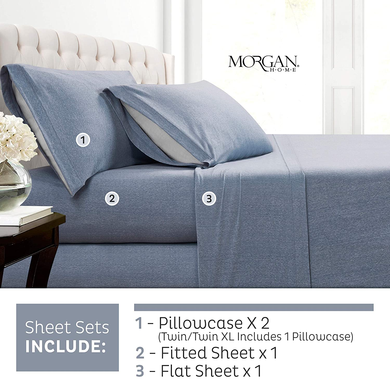 c490e18a Morgan Home Cotton Rich T-Shirt Soft Heather Jersey Knit Sheet Set - All  Season Bed Sheets, Warm and Cozy (Queen, Heather Blue)