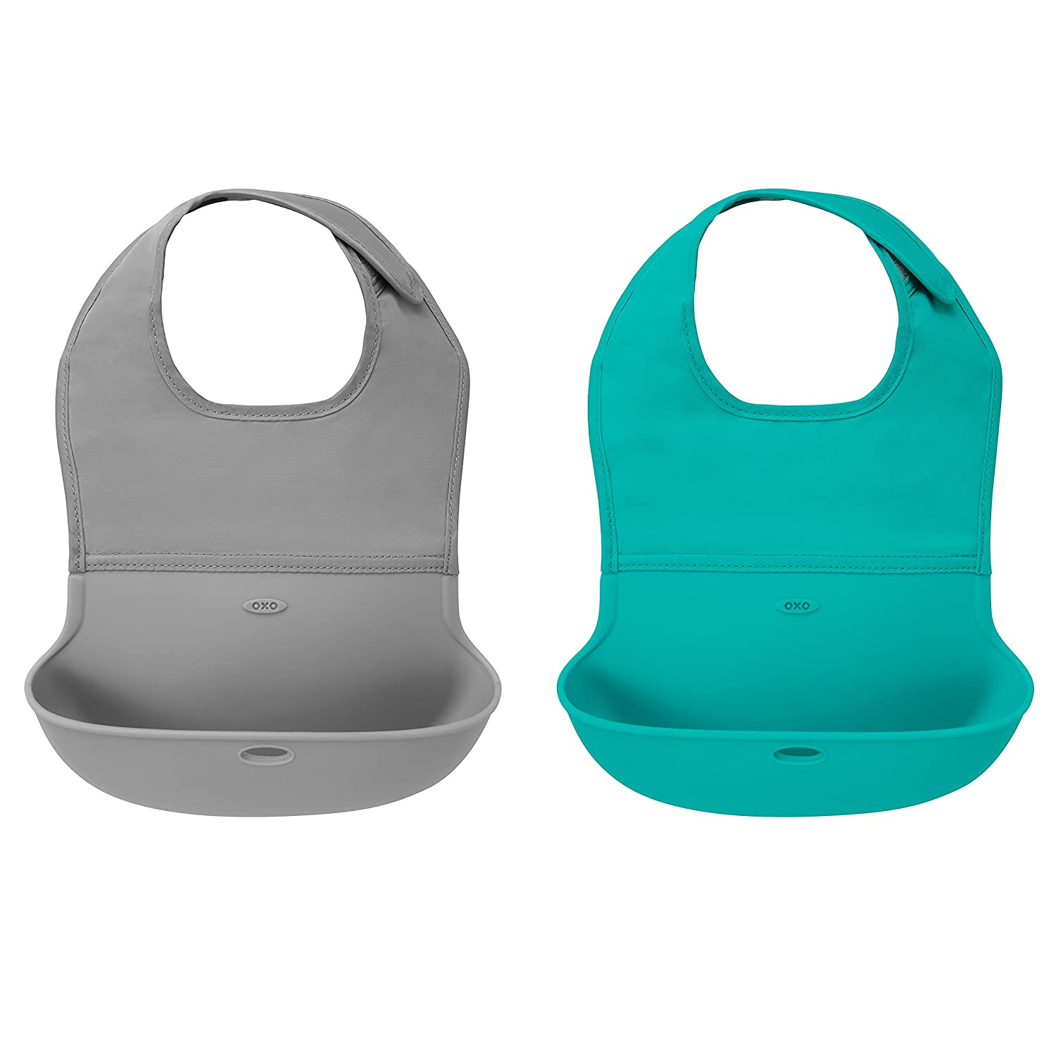 OXO Tot Waterproof Silicone Roll Up Bib with Comfort-Fit Fabric Neck, 2 Pack, Gray/Aqua 61118800