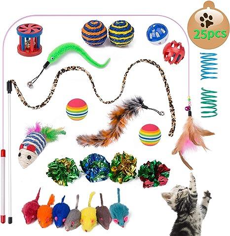 Yangbaga Juguetes para Gatos Juguetes Interactivo Ratón y Bolas ...