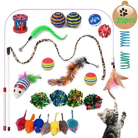 Yangbaga 25 Piezas Juguetes para Gatos Juguetes Interactivo Ratón y Bolas Varias con Campanas y Plumas