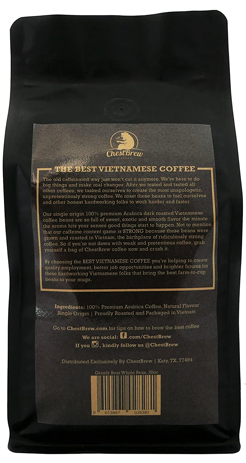 Amazon Com Chestbrew Whole Bean Coffee Medium Roast Vietnamese Coffee Grizzly Bear 20 Ounce Bag Grocery Gourmet Food