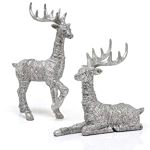 Reindeer Decorations Christmas Deer Decor - Set Of 2 Holiday Reindeer Figurines Standing And Lying Silver Glitter Indoor Decorative Ornaments For Tabletop Kitchen Mantle Shelf Desk Office Winter Decor