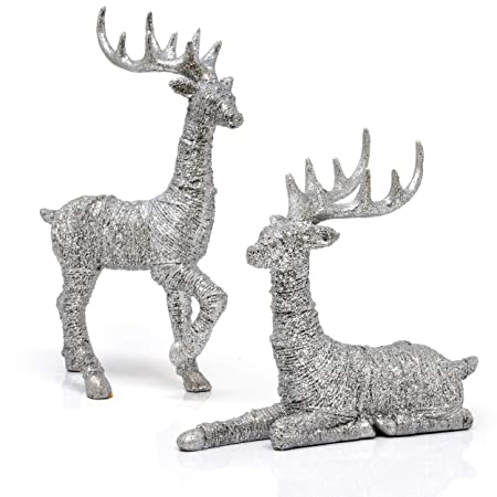 Reindeer Decorations Christmas Deer Decor Set Of 2 Holiday Reindeer Figurines Standing And Lying Silver Glitter Indoor Decorative Ornaments For Tabletop Kitchen Mantle Shelf Desk Office Winter Decor Amazon In Health