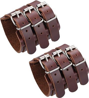 HZMAN Mens Leather Wide Triple Strap Cuff Wrap Gauntlet Wristband Buckle Fast...