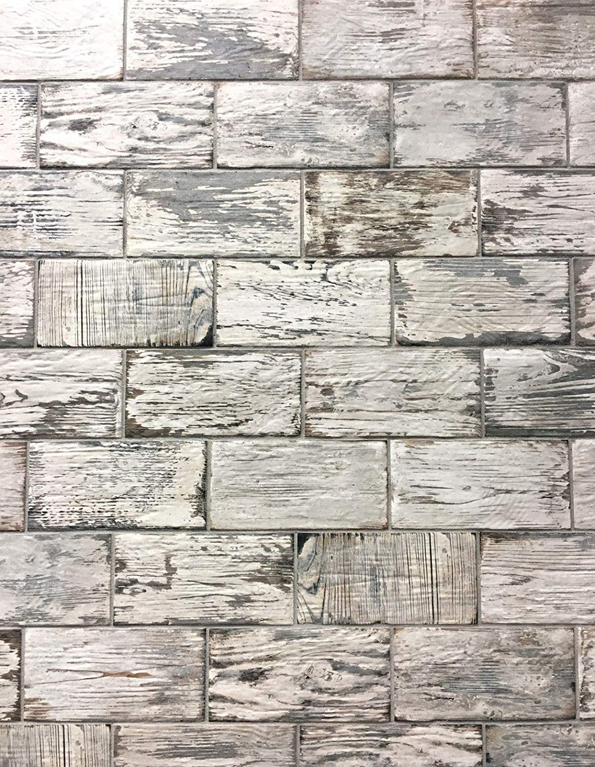 Rustic White Brick Look 4x8 Porcelain Tile Wall Floor Kitchen Box Of 34 Ceramic Flooring Tiles Amazon Canada