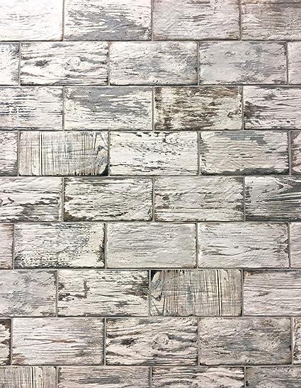 Rustic White Brick Look 4x8 Porcelain Tile Wall Floor ...