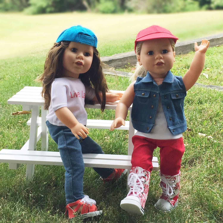 Accesorios de Gorro de mu/ñeca para mu/ñecas de 18 Pulgadas y mu/ñecas American Girl The New York Doll Collection Gorra de b/éisbol de mu/ñeca de 18 Pulgadas Azul Gorra de mu/ñeca