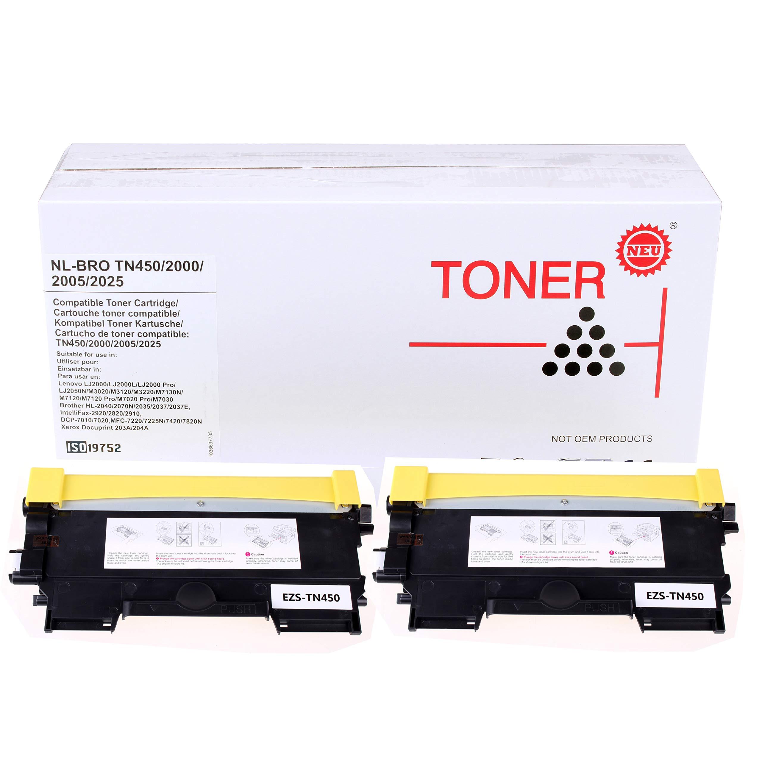 ZQL TN450 TN-450 (Black, High Yield, 2 Pack) Compatible Toner Cartridges Brother HL-2240 HL-2240D HL-2270DW HL-2280DW MFC-7240 MFC-7460DN MFC-7860DW by ZQL