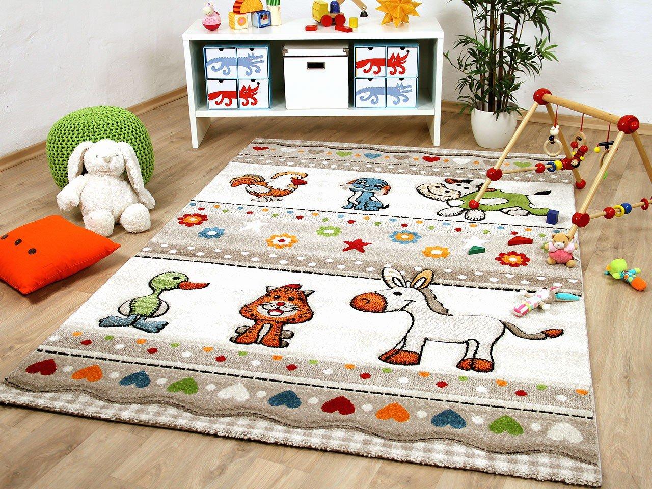 Savona Kinder und Spiel Teppich Kids Farm Tiere Bunt in 5 Größen