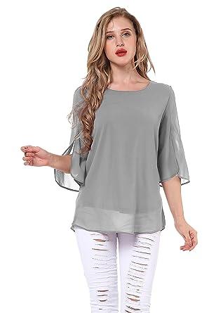 Yidarton Damen Chiffon Bluse Shirt Scoop Neck 3 4 Ärmel Blusen Tops (Medium, 314329e3e1
