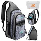 KastKing Pond Hopper Fishing Sling Tackle Storage Bag – Lightweight Sling Fishing Backpack - Sling Tool Bag for Fishing Hiking Hunting Camping,Include (1) 3600 Box,17.7x12.6x6 Inches, Silver Mist