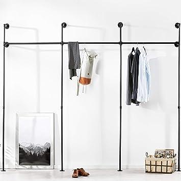 pamo. Kleiderstange im Vintage Industrial Design – Kleiderständer für  begehbaren Kleiderschrank/Schlafzimmer in urban schwarz aus Wasserrohre (3  Fach)