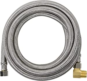 Certified Appliance Accessories Dishwasher Hose with 90 Degree MIP Elbow, Water Supply Line, 10 Feet, PVC Core with Premium Braided Stainless Steel