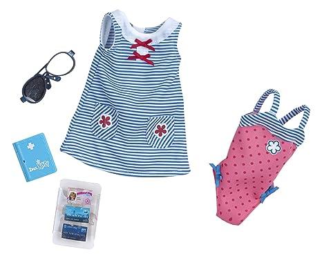5a514f4485 Nancy Set de ropita para viajar con vestido azul y bañador rosa (Famosa  700012722A)