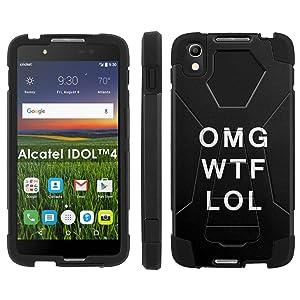 Alcatel One Touch IDOL 4 [Nitro 4/49] Phone Cover, OMG WTF LOL - Black Hexo Hybrid Armor Phone Case for Alcatel One Touch IDOL 4 [Nitro 4/49]