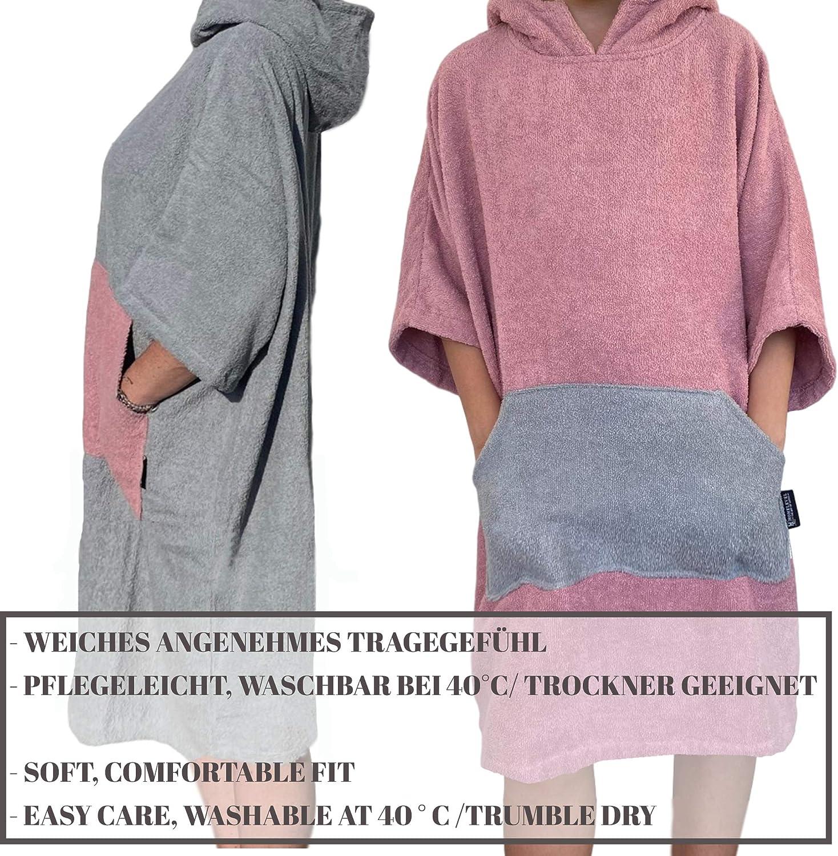 HOMELEVEL Asciugamano Poncho Adulto da Surf e Spiaggia in Cotone 100/% con Cappuccio e Tasche Adulto
