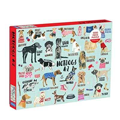 """Mudpuppy Hot Dogs A-Z Puzzle, 1,000 Piece Dog Jigsaw Puzzle, 27""""x20"""", Perfect for Ages 8-99+, Family Puzzle to Celebrate Dogs, Illustrations of 26 Dog Breeds, Great Gift for Dog Lovers: Mudpuppy, Gavin, Carolyn: Toys & Games"""