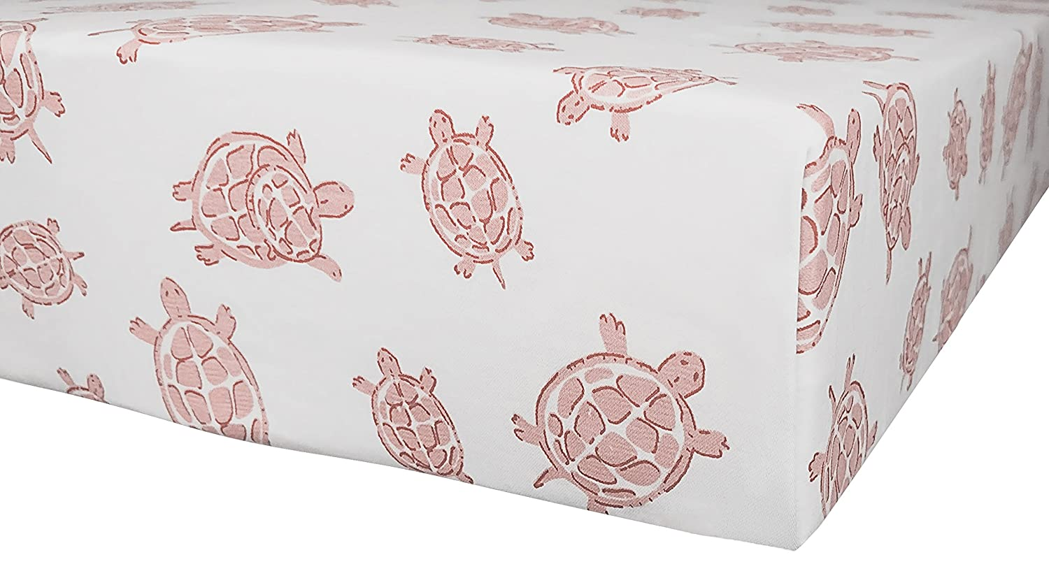 "Organic Cotton Portable Playard Fitted Crib Sheet, 27"" x 39"" x 5"" to Fit Pack 'n Play for Babies & Toddlers, Turtle Print (Pink) Dera Design"