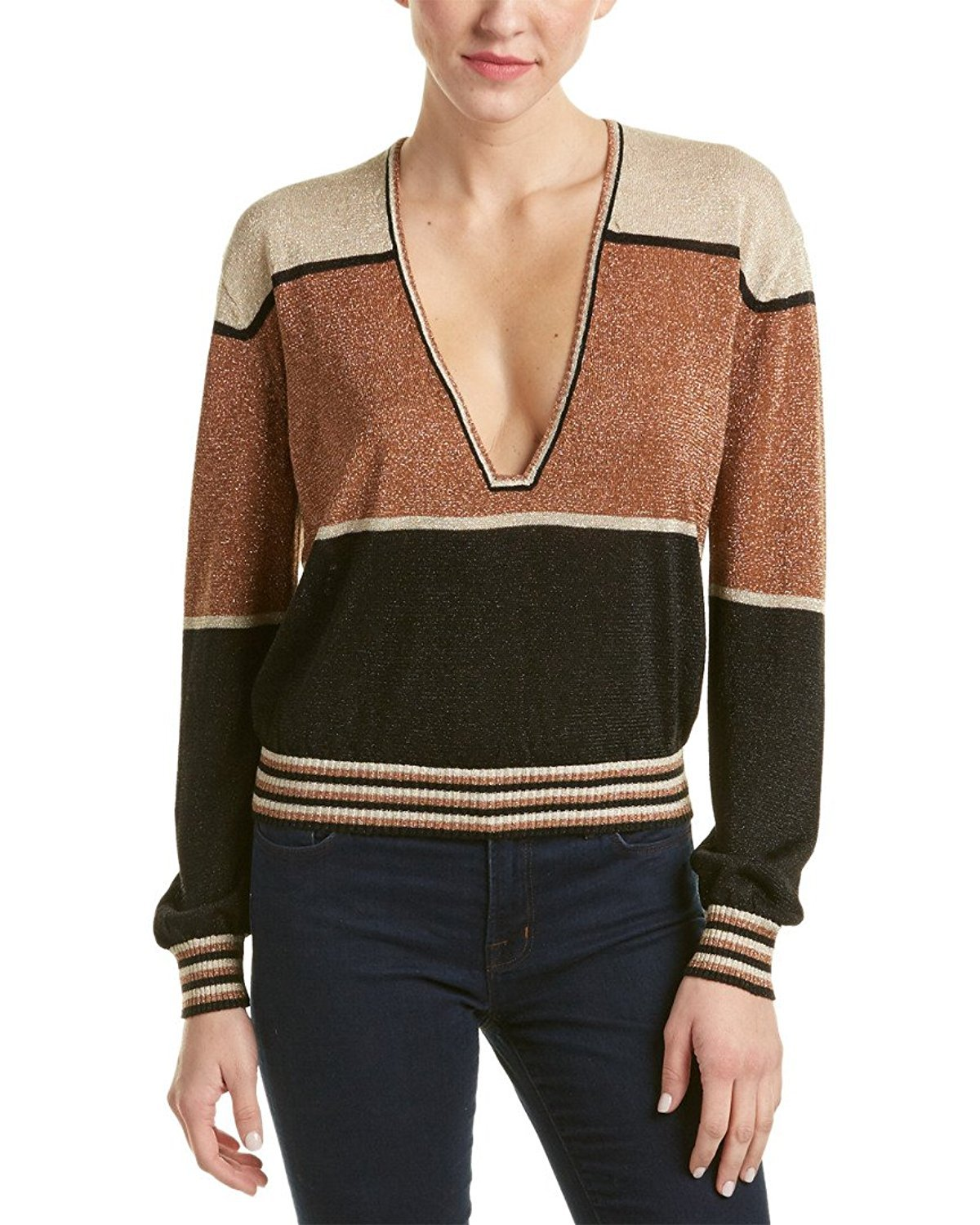 Free People Women's Gold Dust Colorblock Sweater (X-Small, Metallic)
