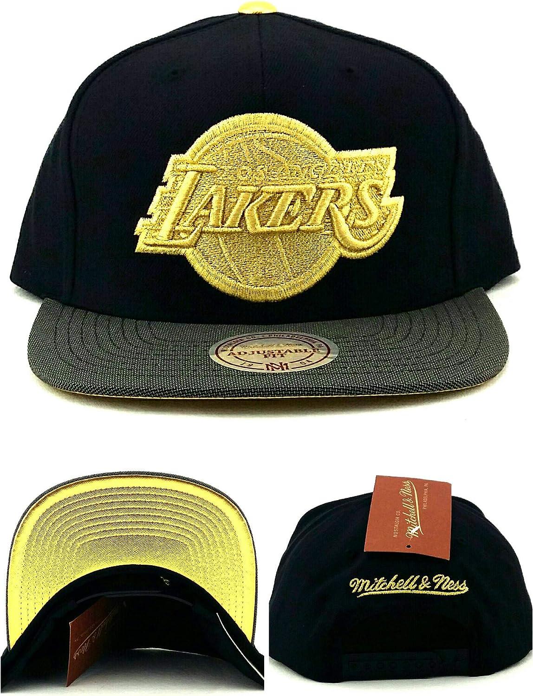 Mitchell Ness Los Angeles Lakers New Black Gray Gold Tip Era Snapback Hat Cap Amazon Co Uk Sports Outdoors