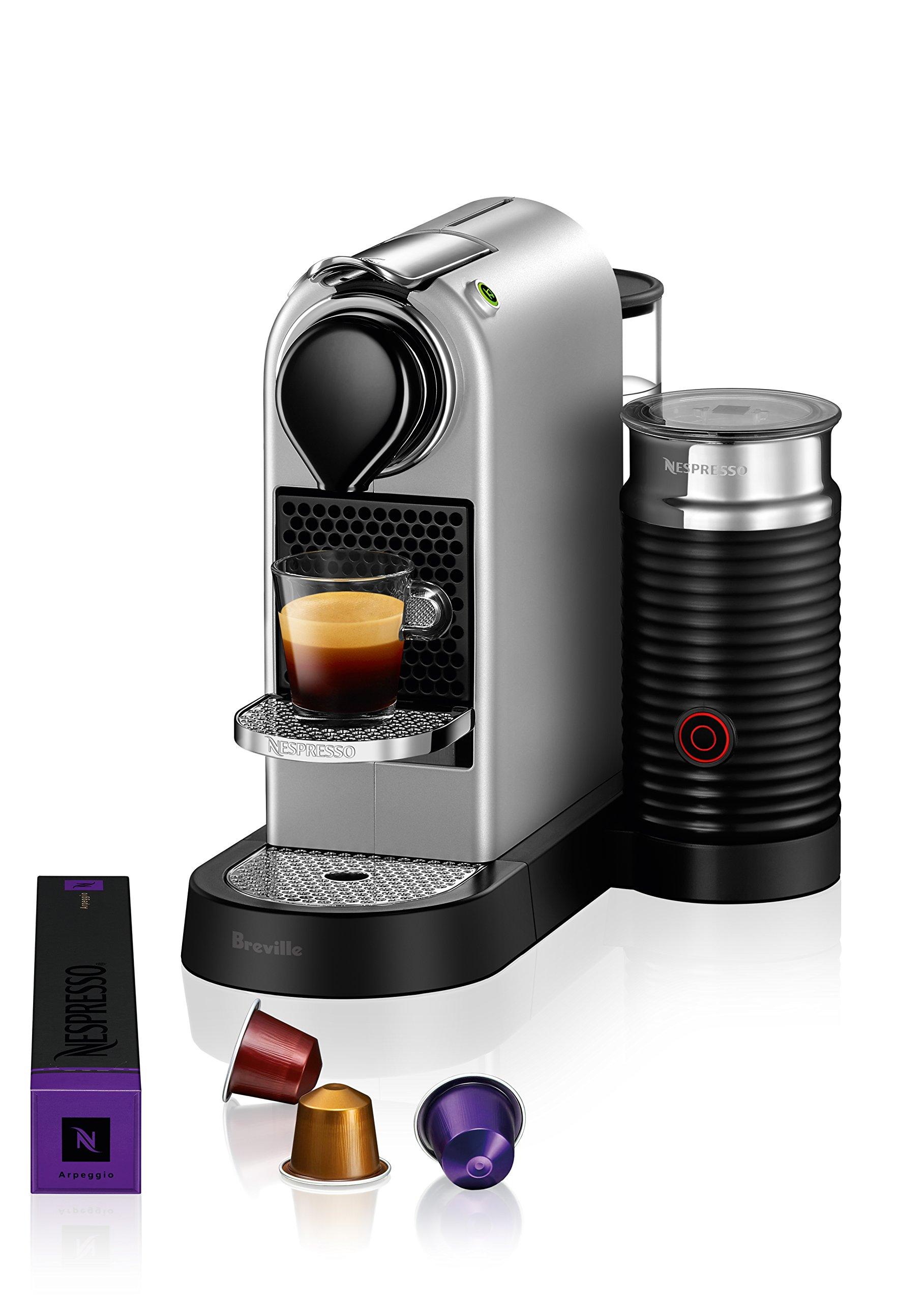 Nespresso CitiZ Original Espresso Machine with Aeroccino Milk Frother Bundle by Breville, Silver