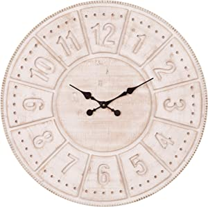 Patton Wall Decor 30 Inch Carved Light Stained Wood Wall Clock, White