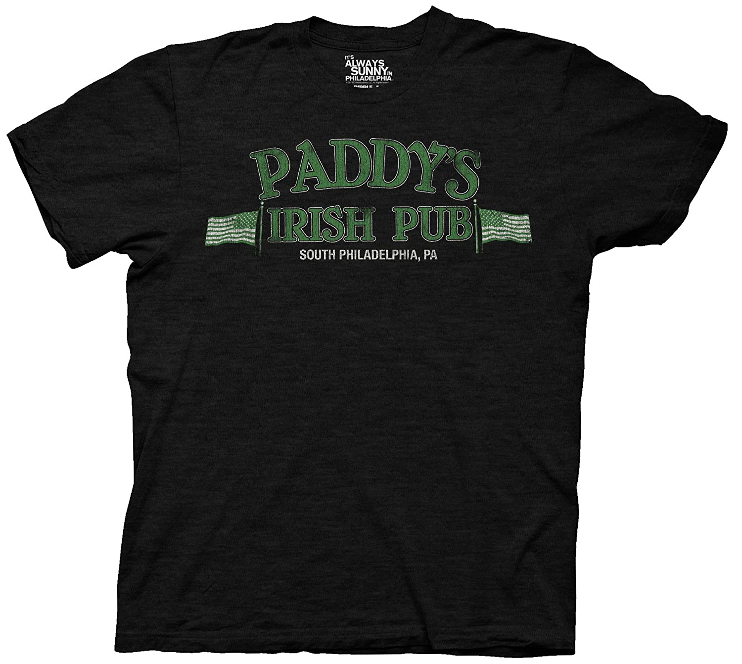 a8f4ee764 Amazon.com  Ripple Junction It s Always Sunny in Philadelphia Adult Unisex  Paddy s Irish Pub Light Weight 100% Cotton Crew T-Shirt  Clothing