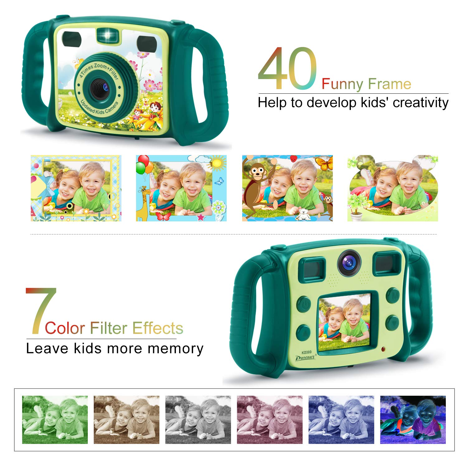 Prograce Kids Camera Dual Selfie Camera 1080P HD Video Recorder Digital Action Camera Camcorder for Boys Girls Gifts 2.0'' LCD Screen with 4X Digital Zoom and Funny Game(Green) by Prograce (Image #3)