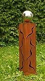 Gartendeko Säule 60cm Gartenideen Rost Skulptur mit Edelstahlkugel
