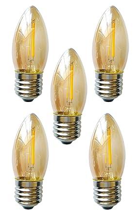 Equivalenza Lampade Led E Incandescenza.5 X Fbl Candela Lampadina Dorato Edison Led C35 4 W