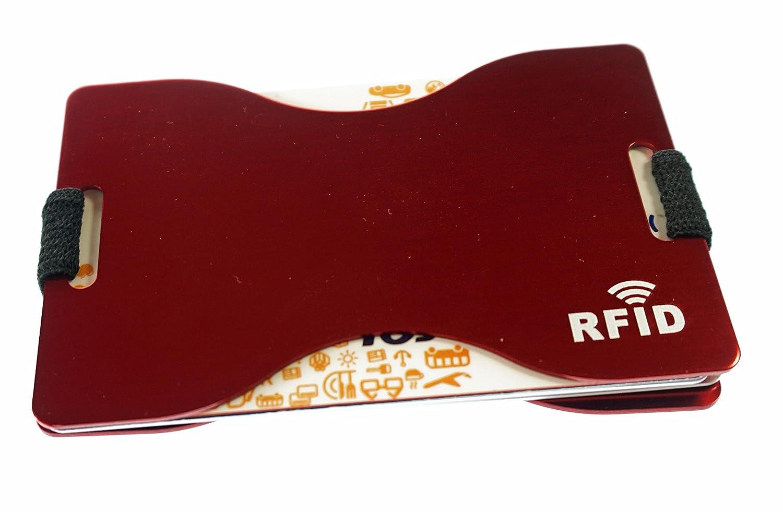 Tarjetero RFID Metálico de Aluminio B2action. Resistente y Cómodo. Bloqueo 100% de RFID para Varias Tarjetas. Color Rojo.: Amazon.es: Equipaje