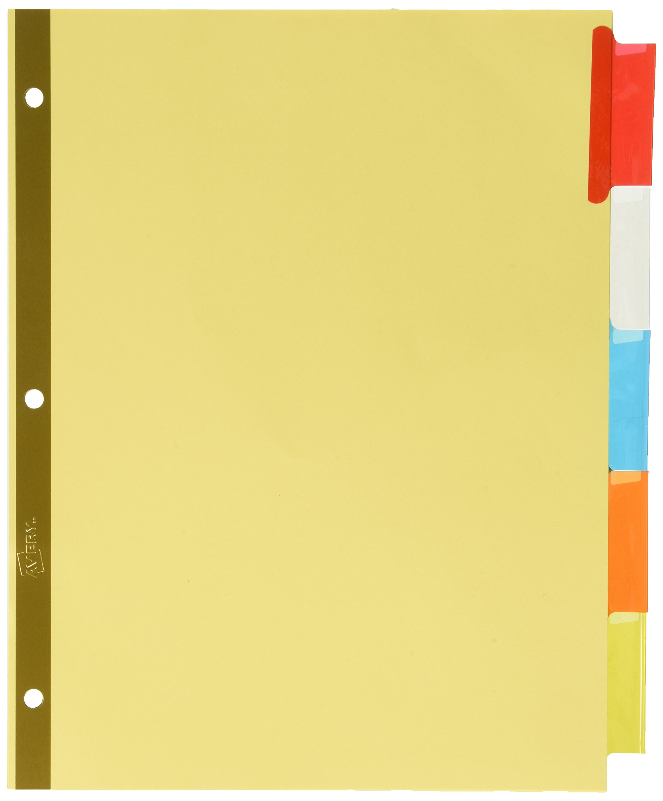 Avery Big Tab Insertable Dividers, Buff Paper, 5 Multicolor Tabs, Case Pack of 48 Sets (11109)