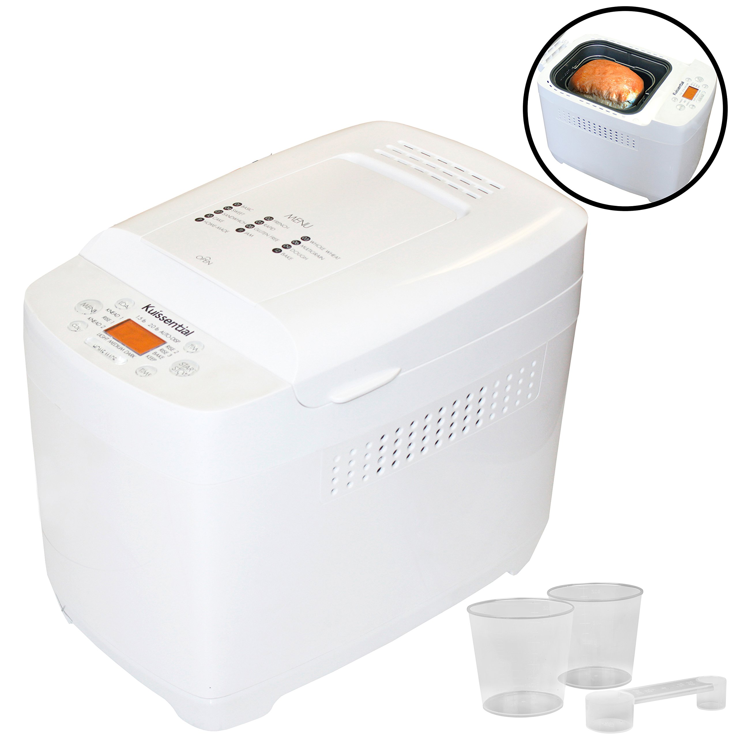 Kuissential 2-Pound Programmable Bread Machine w/Auto Fruit and Nut Dispenser, 13 Settings and 13-Hour Delay Timer