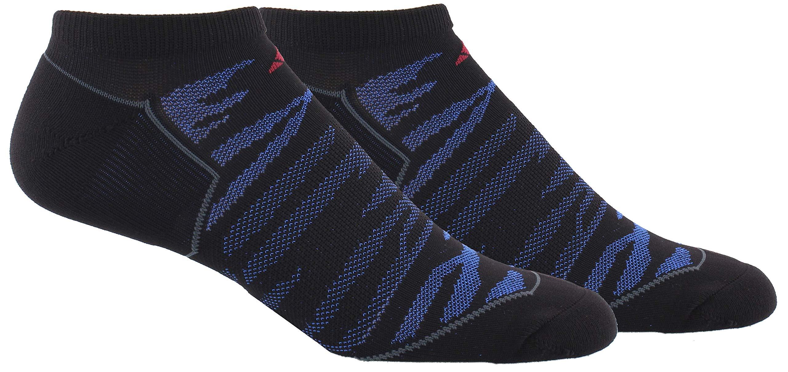 adidas Men's Superlite Prime Mesh No Show Sock (2-Pair), Black/Blue/Dark Grey/Collegiate Burgundy, Large, (Shoe Size 6-12) by adidas